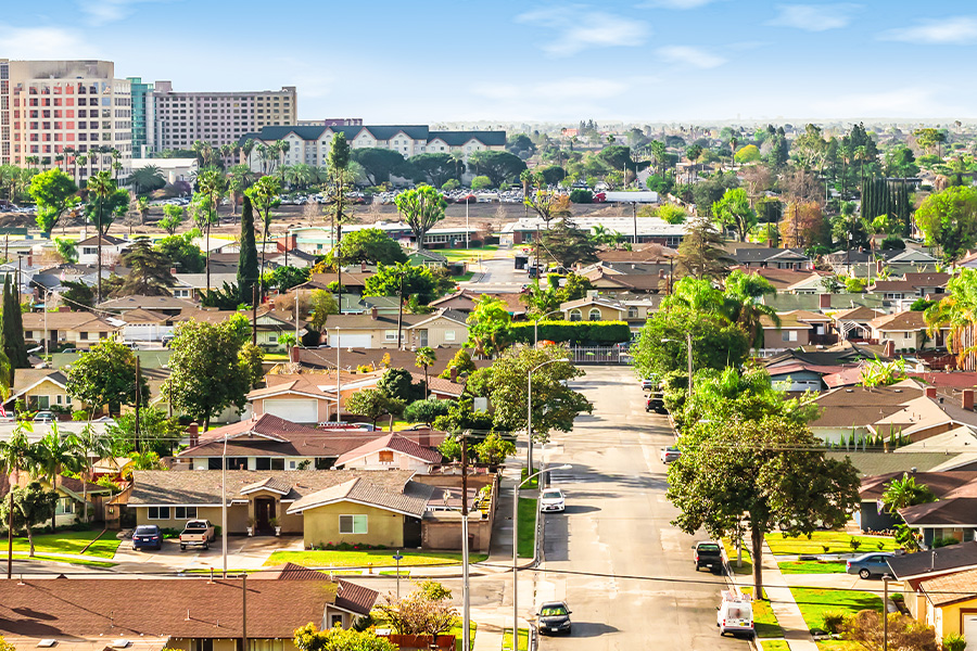 California - Panoramic View of a Neighborhood in Orange County, California
